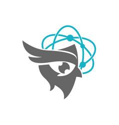 Owl technology logo design template isolated vector