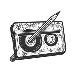 Pencil in cassette tape sketch vector