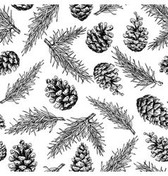 Pine cone and fir tree seamless pattern botanical vector