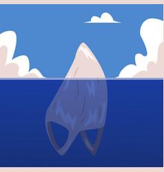 plastic bag rubbish in ocean like iceberg vector image