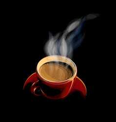 red cup coffee with smoke on a black background vector image