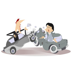Road accident young man and woman vector