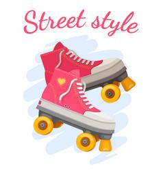 Roller girl print trendy pink rollers skate vector