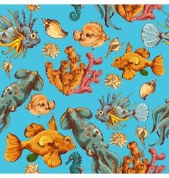 Sea creatures sketch colored seamless pattern vector image