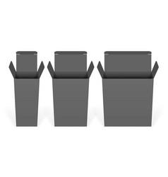 set black cardboard boxes mockups vector image