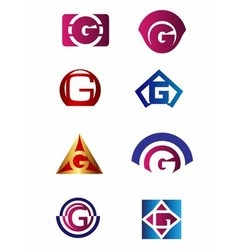 Set of letter G logo Branding Identity Corporate v vector image
