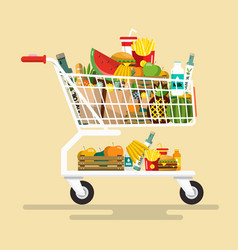 Shopping cart with foodstuff flat design icon vector