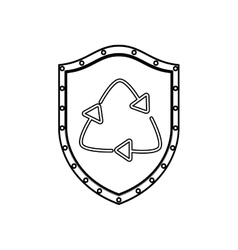 Silhouette shield with arrow recycled symbol vector