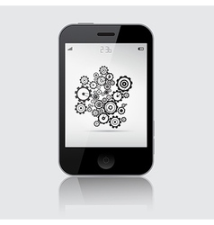 Smartphone with Cogs - Wheels on Grey Backgr vector image