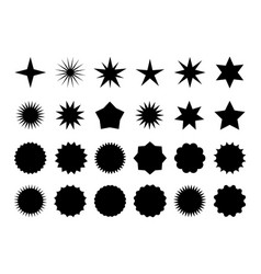 Star burst sticker set black flat price tags vector