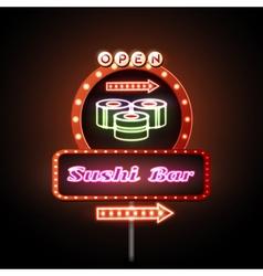 Sushi bar neon sign vector image