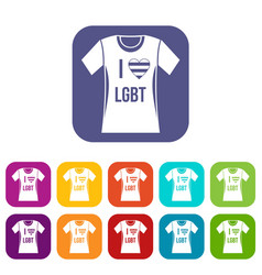 t-shirt i love lgbt icons set vector image