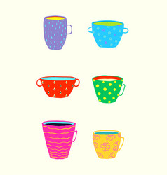 tea or coffee cups and mugs collection colorful vector image
