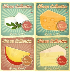 Vintage set of cheese labels vector