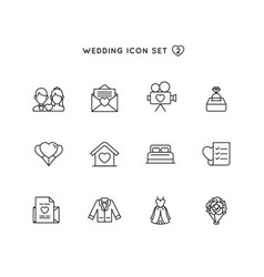 Wedding outline icon set object of marriage with vector