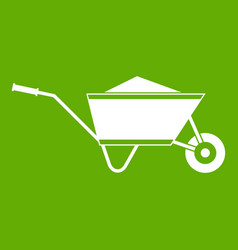 wheelbarrow with sand icon green vector image