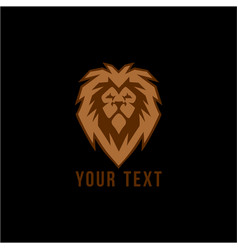 wild gold lion head logo flat design vector image