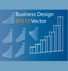 Wire-frame graphs set infographics vector