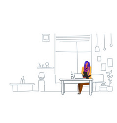 woman freelancer using laptop sitting workplace vector image