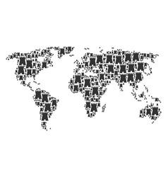 world map mosaic of bulwark tower items vector image