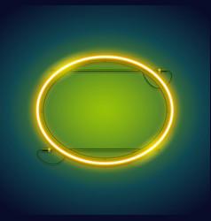 yellow neon ellipse frame vector image