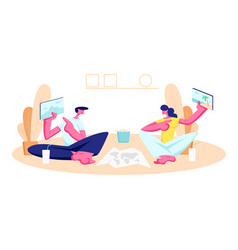 young man and woman sitting on floor at home vector image