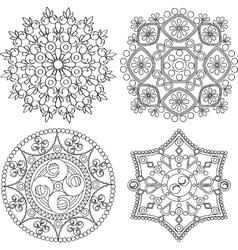 Circular ornament set Round pattern mandala vector image