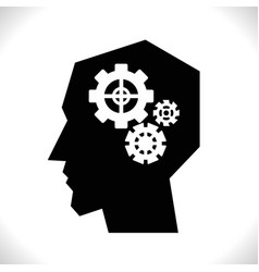 gear in head pictograph vector image
