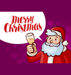 merry christmas greeting card jolly santa claus vector image vector image