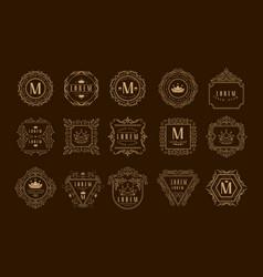monogram logo template set golden heraldic badge vector image