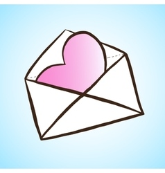 Opened letter with heart Hand drawn vector image vector image