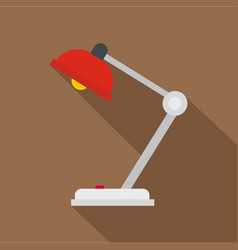 red desk lamp icon flat style vector image