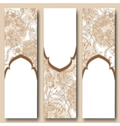Set of floral banners templates in oriental style vector image