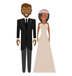 afro american groom and bride suits wedding vector image