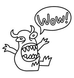 Cartoon monster screaming wow speech bubble vector