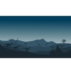 eoraptor silhouette in hills vector image