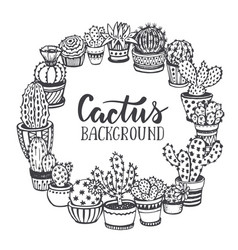 frame with hand drawn cactuses in sketch style vector image vector image