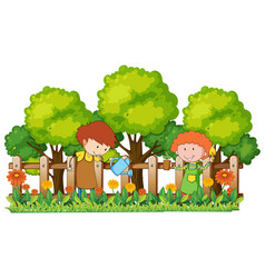 happy children watering plants in garden vector image vector image