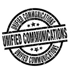 unified communications round grunge black stamp vector image vector image