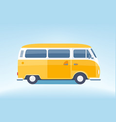 vintage yellow minibus converted vector image