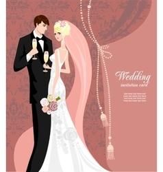 Elegant pink wedding vector image