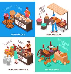 greengrocer market compositions set vector image vector image