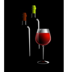 wine bottles and glass vector image vector image