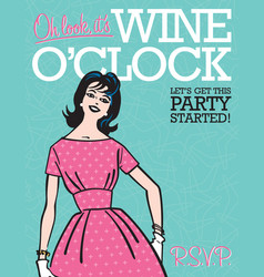 wine oclock retro party invitation vector image