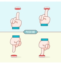 Button with hands Flat design thin line style vector image vector image