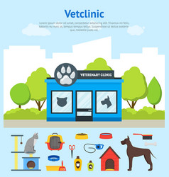cartoon veterinary clinic building card poster and vector image vector image