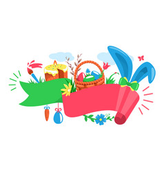 easter festive ribbon concept with rabbit wicker vector image