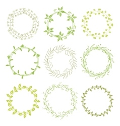 Hand drawn green floral wreaths vector image