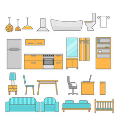 interiors room with furniture flat style vector image