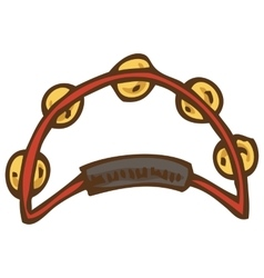 Red Tambourine with Jingles vector image